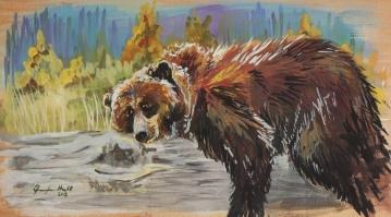 """-Available- """"Sleepy Bear"""" - 8x12, Acrylic on Wood"""