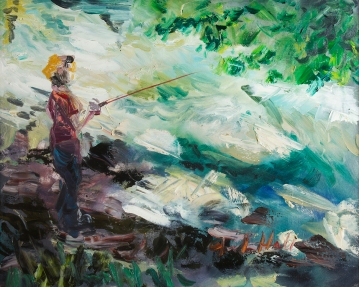 "-Available- ""Fishing in the Creek"" - 18x24, Oil"