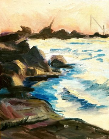 "-Available- ""Lake Shore Park"" - Acrylic, 11x14"